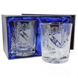 Whisky Glasses Pair with coat of arms / Family Crest  ref CWPC